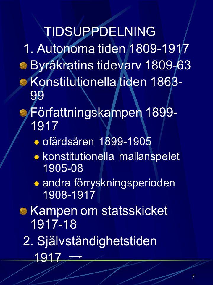 Byråkratins tidevarv 1809-63 Konstitutionella tiden 1863-99