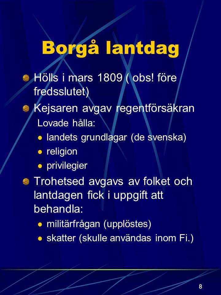 Borgå lantdag Hölls i mars 1809 ( obs! före fredsslutet)