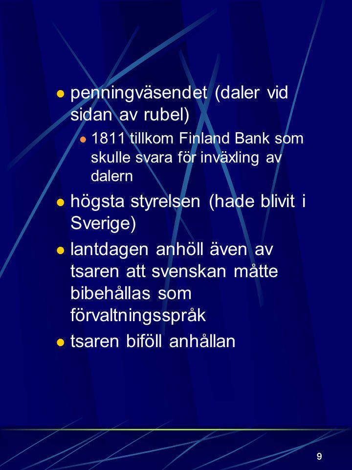penningväsendet (daler vid sidan av rubel)