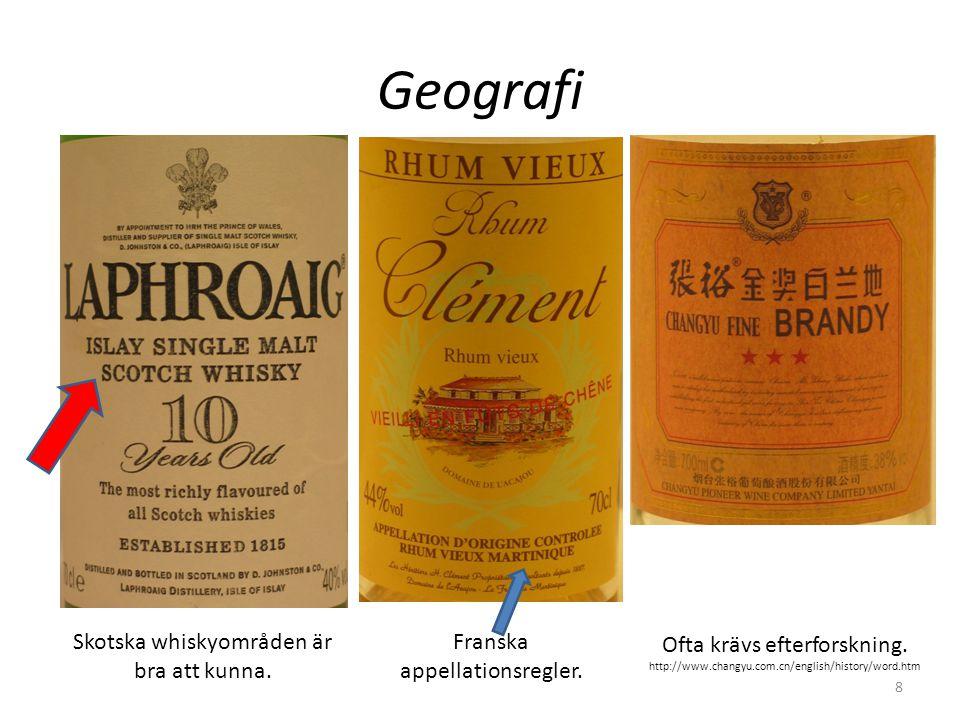 Geografi Skotska whiskyområden är bra att kunna.