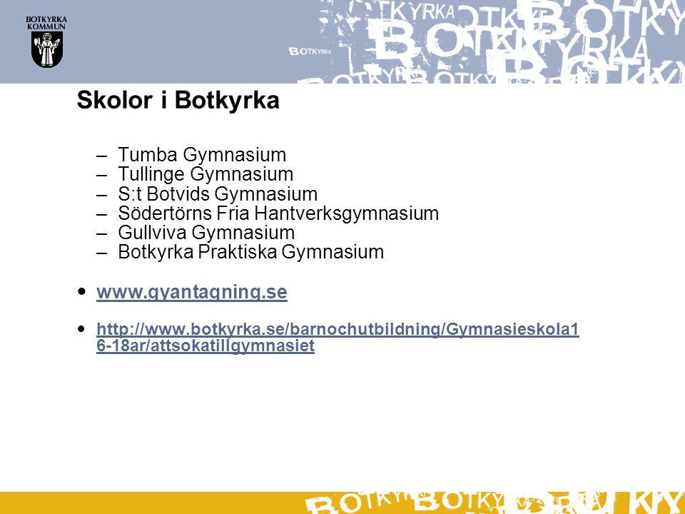 Skolor i Botkyrka Tumba Gymnasium Tullinge Gymnasium