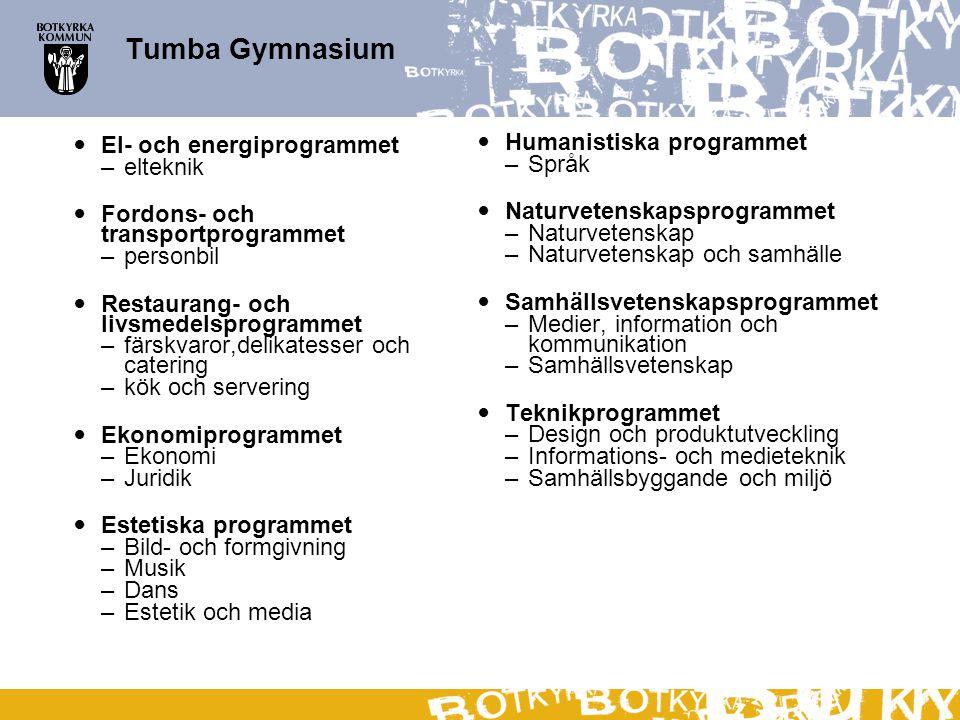Tumba Gymnasium El- och energiprogrammet Humanistiska programmet