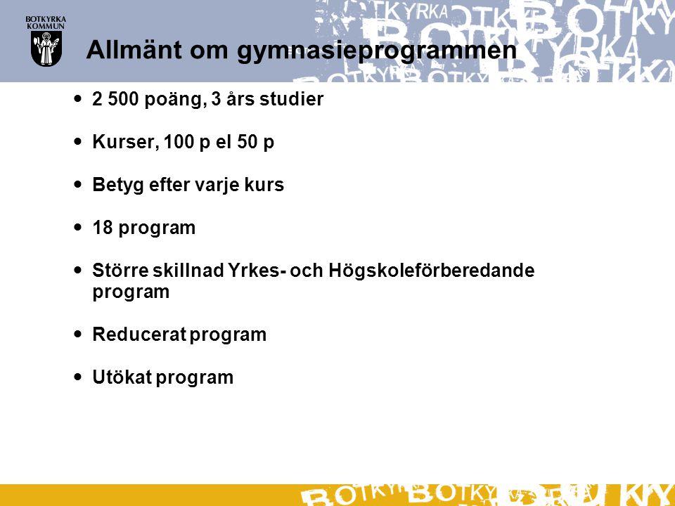 Allmänt om gymnasieprogrammen