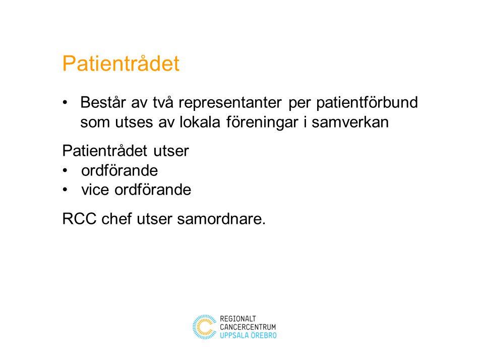 Patientrådet Består av två representanter per patientförbund som utses av lokala föreningar i samverkan.