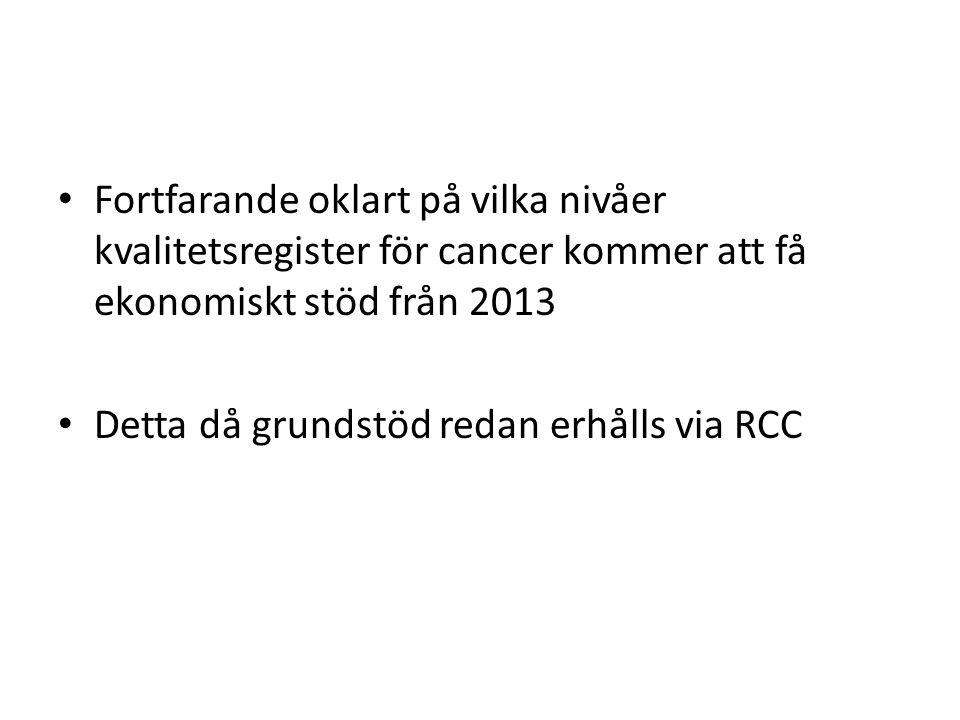 Fortfarande oklart på vilka nivåer kvalitetsregister för cancer kommer att få ekonomiskt stöd från 2013