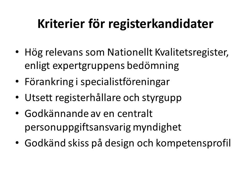 Kriterier för registerkandidater
