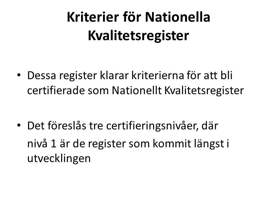 Kriterier för Nationella Kvalitetsregister