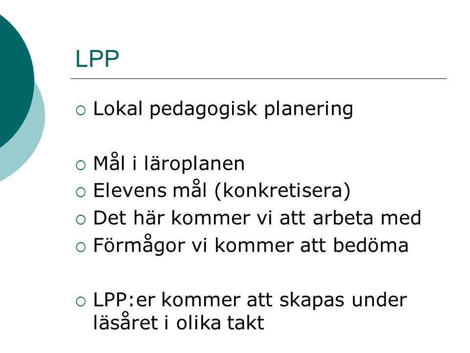 LPP Lokal pedagogisk planering Mål i läroplanen