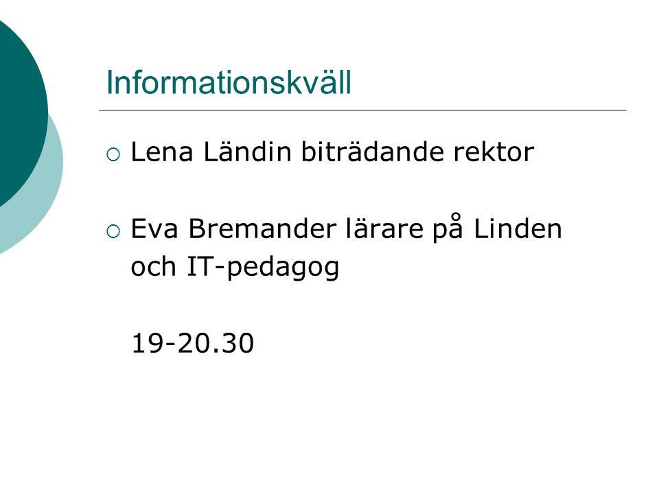 Informationskväll Lena Ländin biträdande rektor