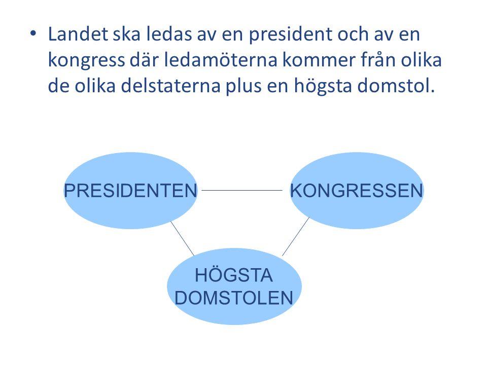 Landet ska ledas av en president och av en kongress där ledamöterna kommer från olika de olika delstaterna plus en högsta domstol.