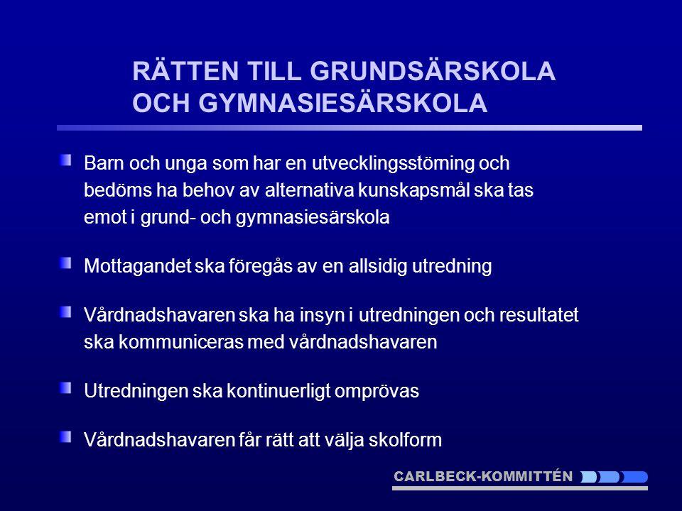 RÄTTEN TILL GRUNDSÄRSKOLA OCH GYMNASIESÄRSKOLA