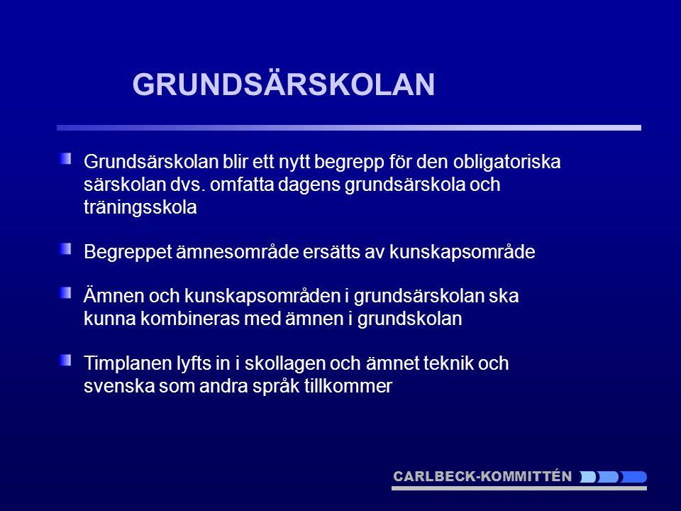 GRUNDSÄRSKOLAN Grundsärskolan blir ett nytt begrepp för den obligatoriska särskolan dvs. omfatta dagens grundsärskola och träningsskola.