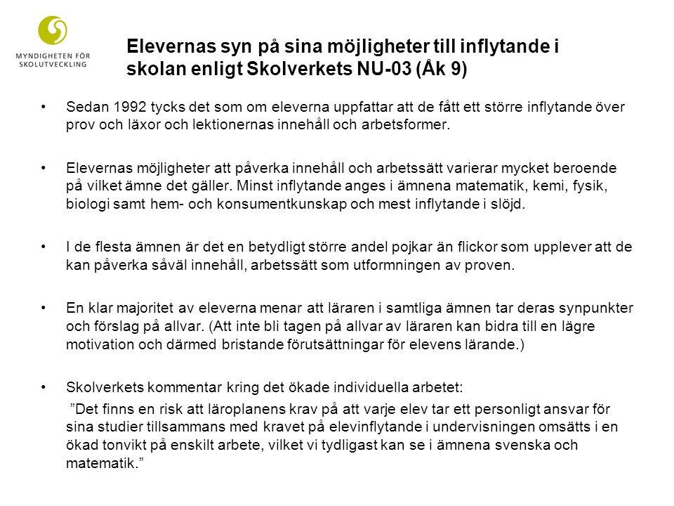 Elevernas syn på sina möjligheter till inflytande i skolan enligt Skolverkets NU-03 (Åk 9)