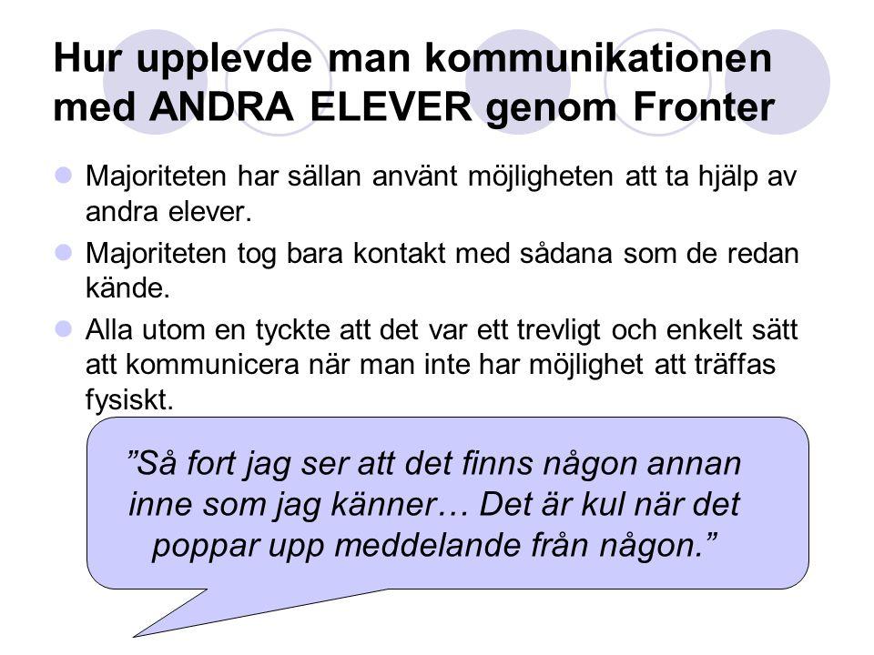 Hur upplevde man kommunikationen med ANDRA ELEVER genom Fronter