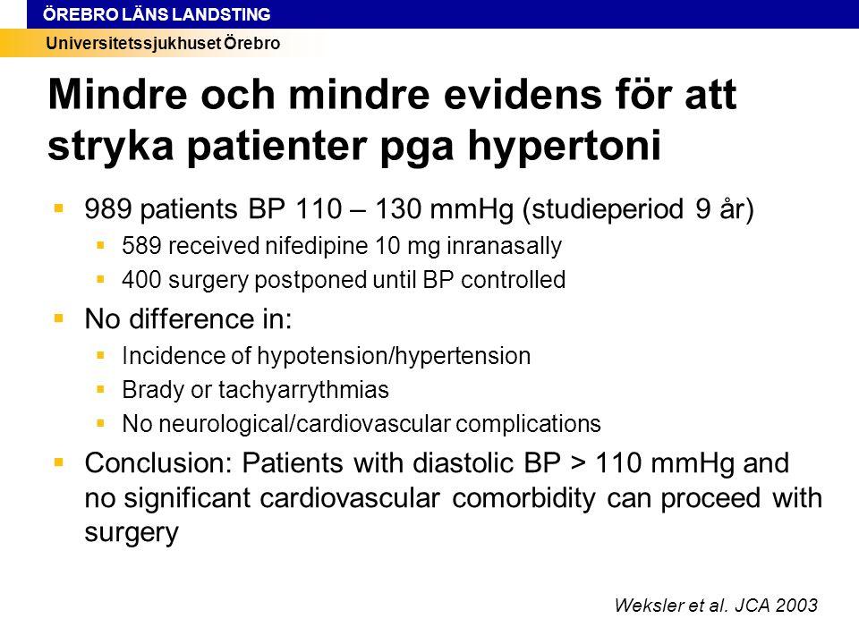 Mindre och mindre evidens för att stryka patienter pga hypertoni