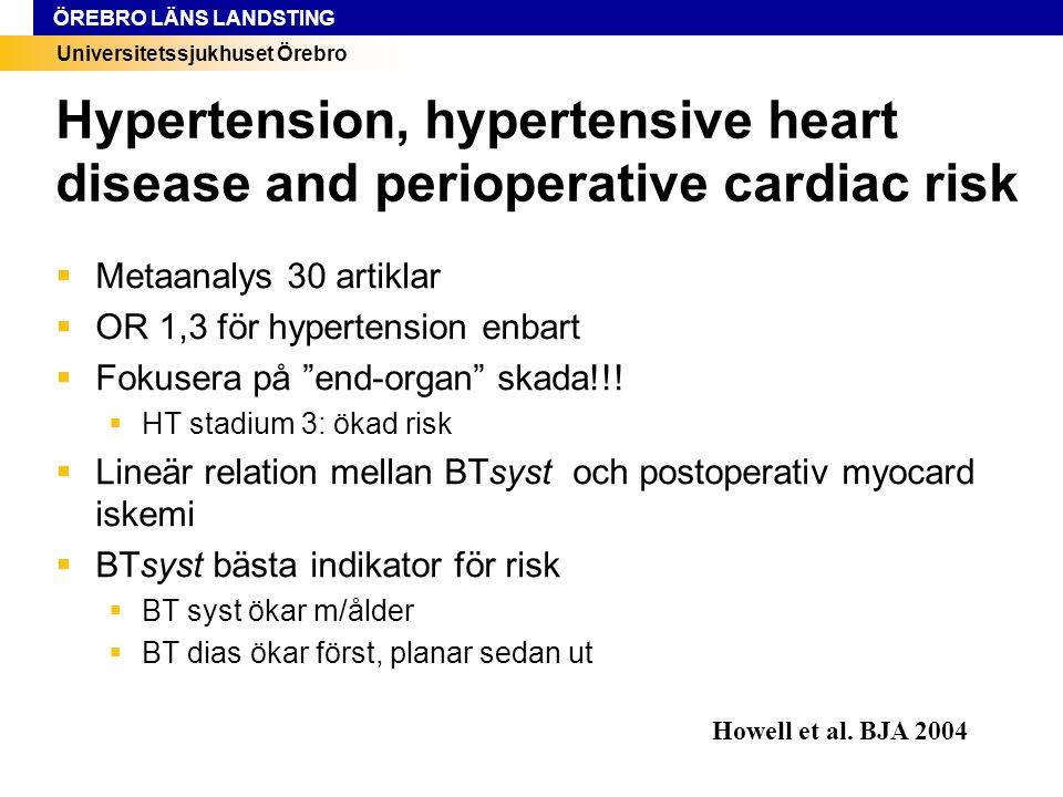Hypertension, hypertensive heart disease and perioperative cardiac risk