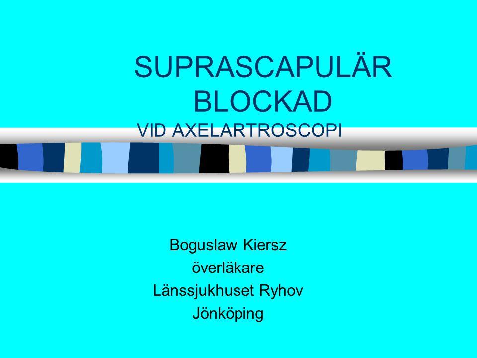 SUPRASCAPULÄR BLOCKAD VID AXELARTROSCOPI