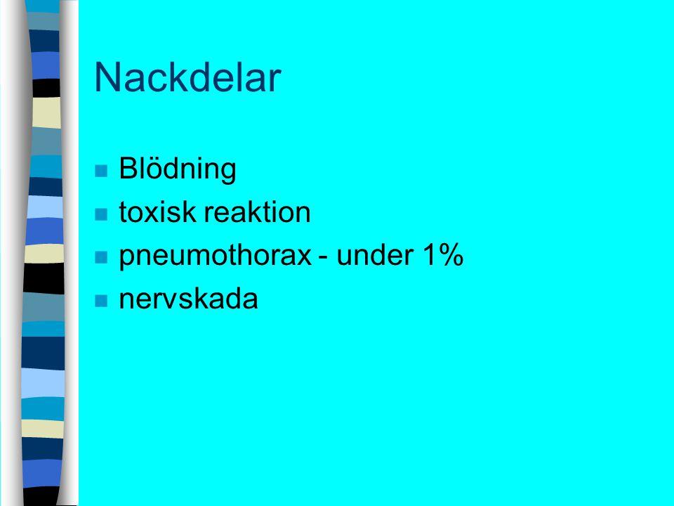 Nackdelar Blödning toxisk reaktion pneumothorax - under 1% nervskada