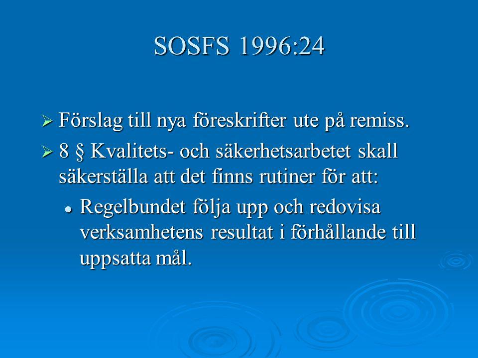 SOSFS 1996:24 Förslag till nya föreskrifter ute på remiss.