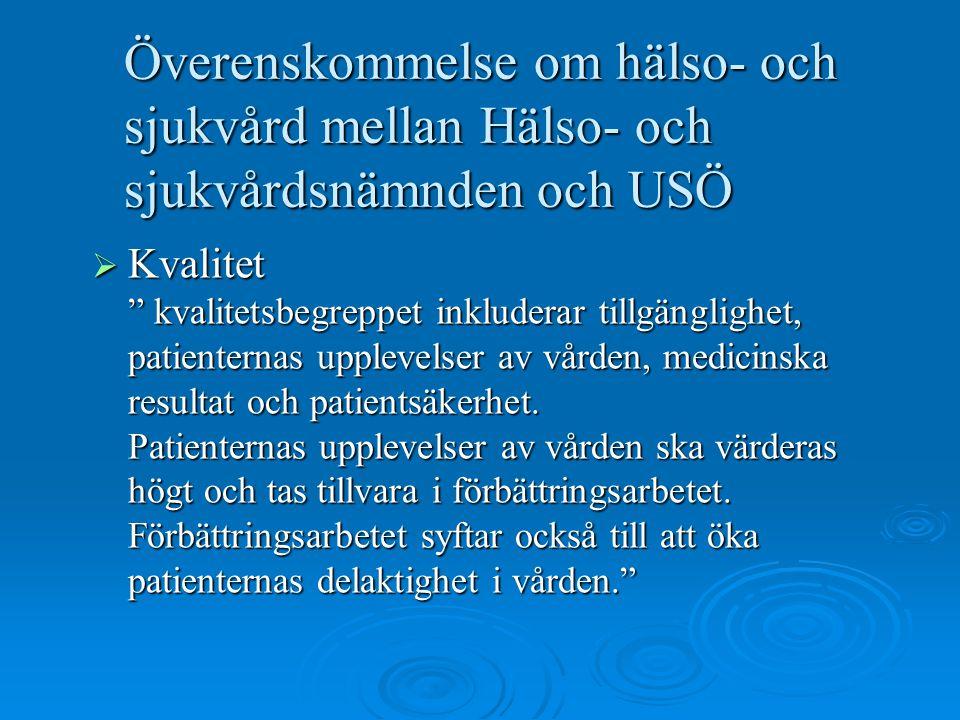 Överenskommelse om hälso- och sjukvård mellan Hälso- och sjukvårdsnämnden och USÖ