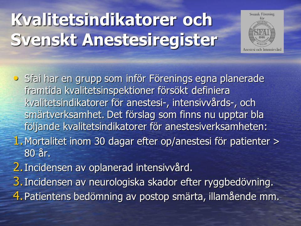 Kvalitetsindikatorer och Svenskt Anestesiregister