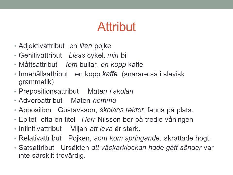 Attribut Adjektivattribut en liten pojke
