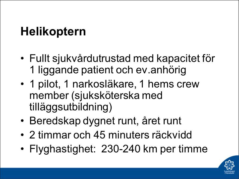 Helikoptern Fullt sjukvårdutrustad med kapacitet för 1 liggande patient och ev.anhörig.
