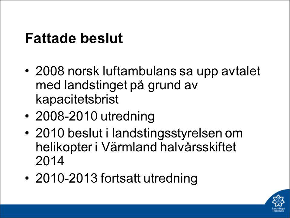 Fattade beslut 2008 norsk luftambulans sa upp avtalet med landstinget på grund av kapacitetsbrist. 2008-2010 utredning.
