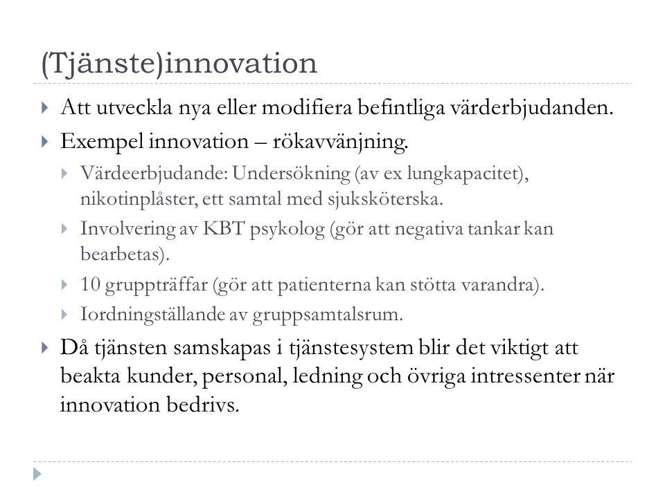 (Tjänste)innovation Att utveckla nya eller modifiera befintliga värderbjudanden. Exempel innovation – rökavvänjning.