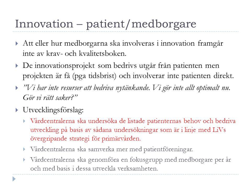Innovation – patient/medborgare