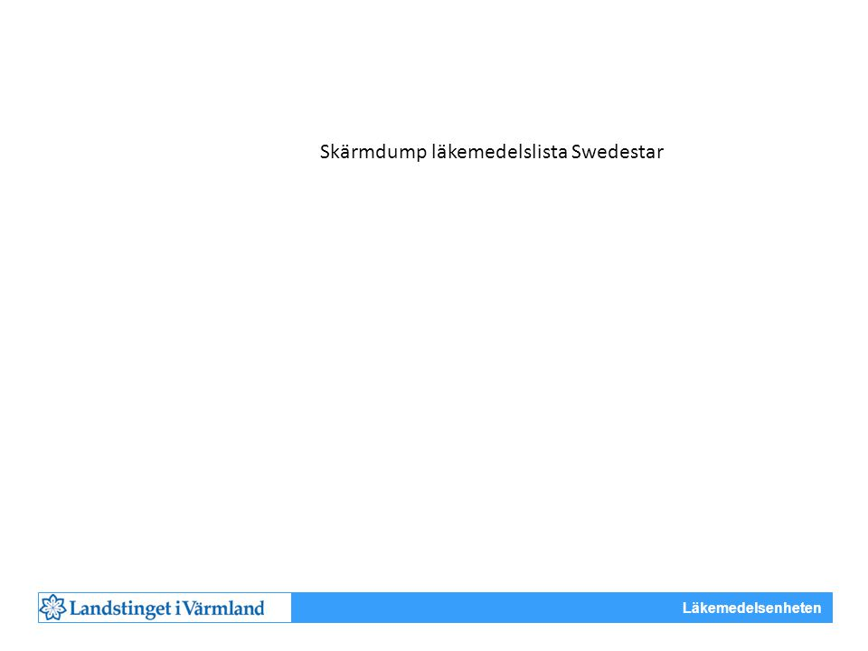 Skärmdump läkemedelslista Swedestar