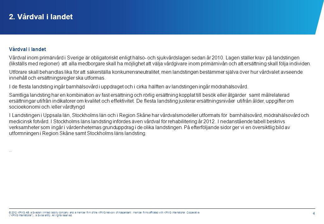 Vårdval i landet Verksamheter som ingår i vårdenheternas grunduppdrag (källa: Vårdval i primärvården SKL 2012)