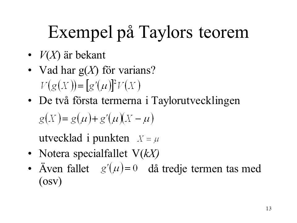 Exempel på Taylors teorem