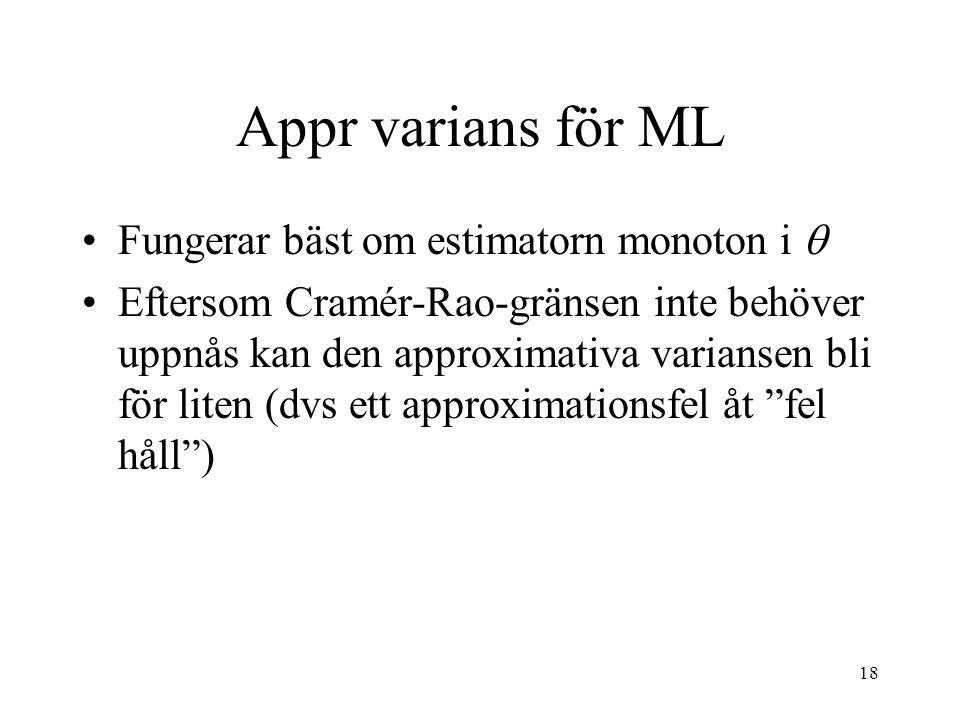 Appr varians för ML Fungerar bäst om estimatorn monoton i 