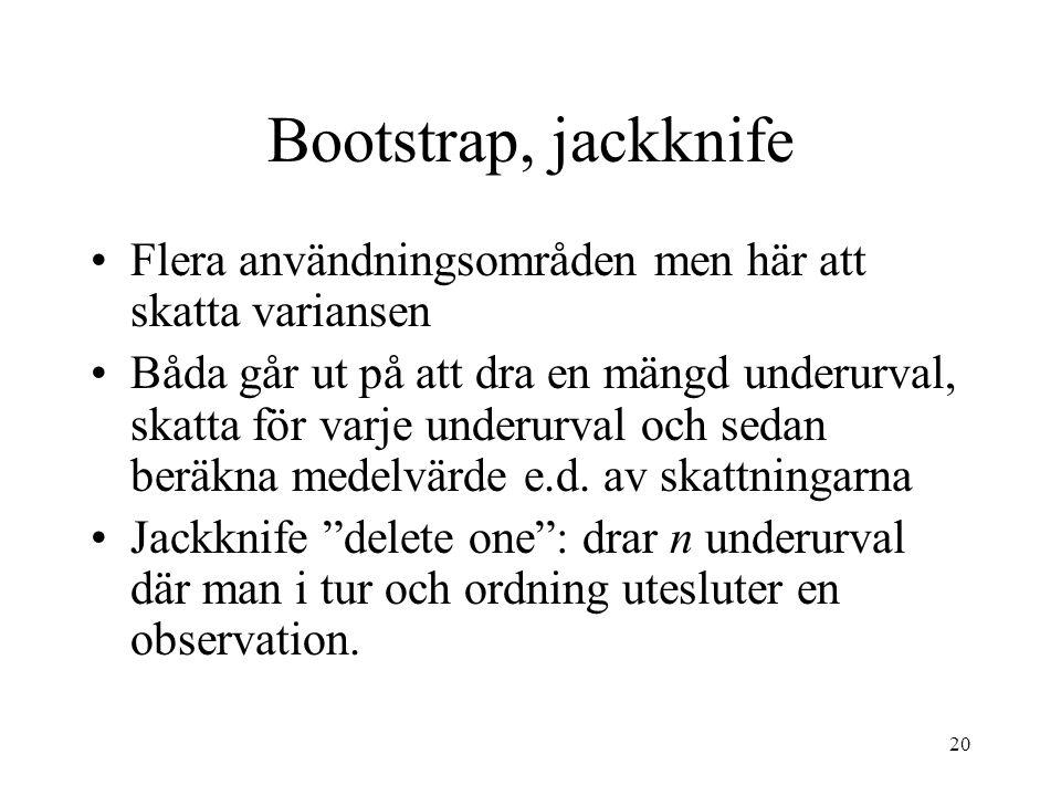 Bootstrap, jackknife Flera användningsområden men här att skatta variansen.