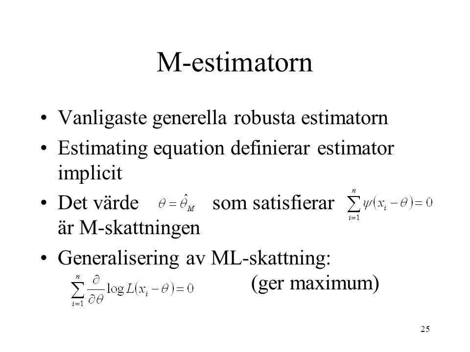 M-estimatorn Vanligaste generella robusta estimatorn