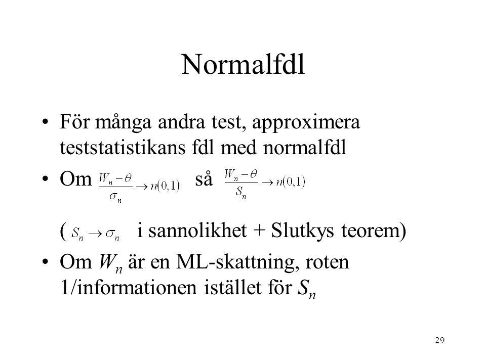 Normalfdl För många andra test, approximera teststatistikans fdl med normalfdl.