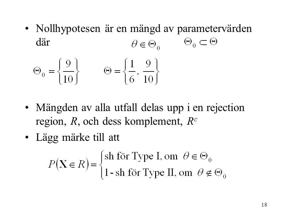 Nollhypotesen är en mängd av parametervärden där