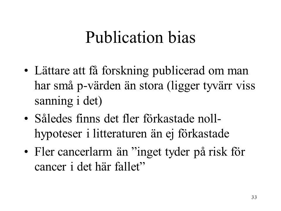 Publication bias Lättare att få forskning publicerad om man har små p-värden än stora (ligger tyvärr viss sanning i det)
