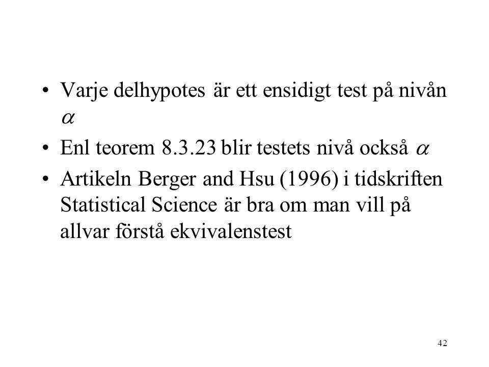 Varje delhypotes är ett ensidigt test på nivån 