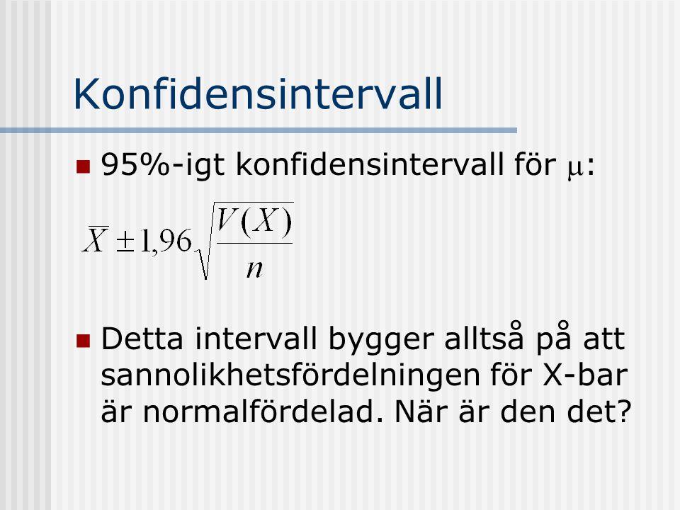 Konfidensintervall 95%-igt konfidensintervall för m: