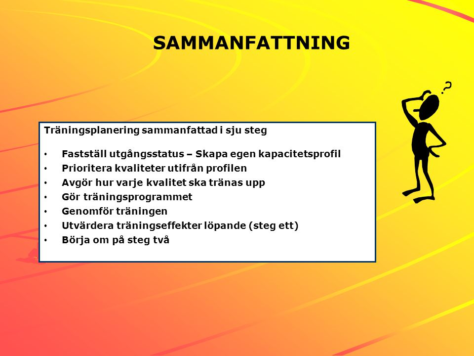 SAMMANFATTNING Bild 2 Träningsplanering sammanfattad i sju steg