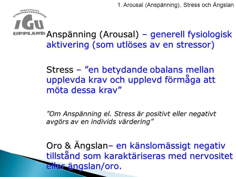 1. Arousal (Anspänning), Stress och Ängslan