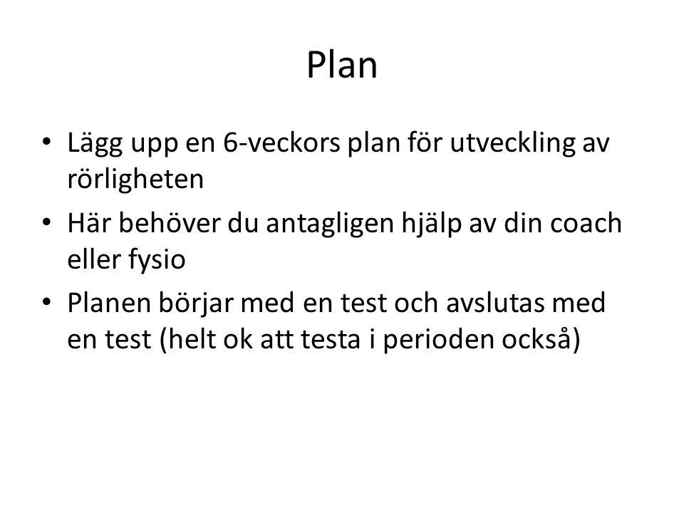 Plan Lägg upp en 6-veckors plan för utveckling av rörligheten