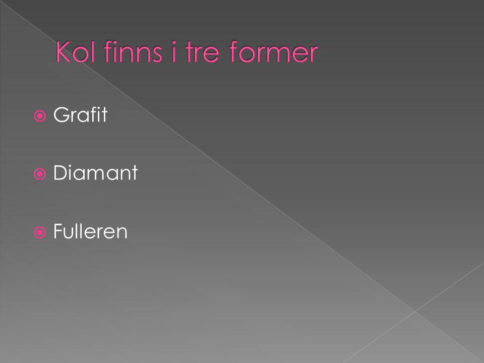 Kol finns i tre former Grafit Diamant Fulleren