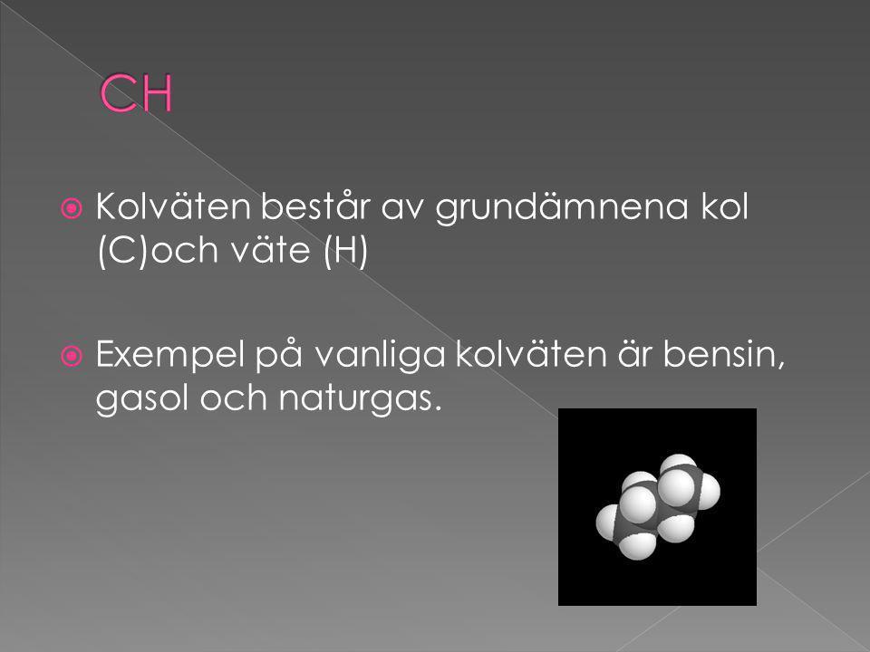 CH Kolväten består av grundämnena kol (C)och väte (H)
