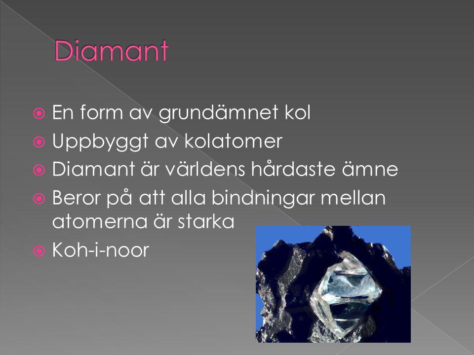 Diamant En form av grundämnet kol Uppbyggt av kolatomer