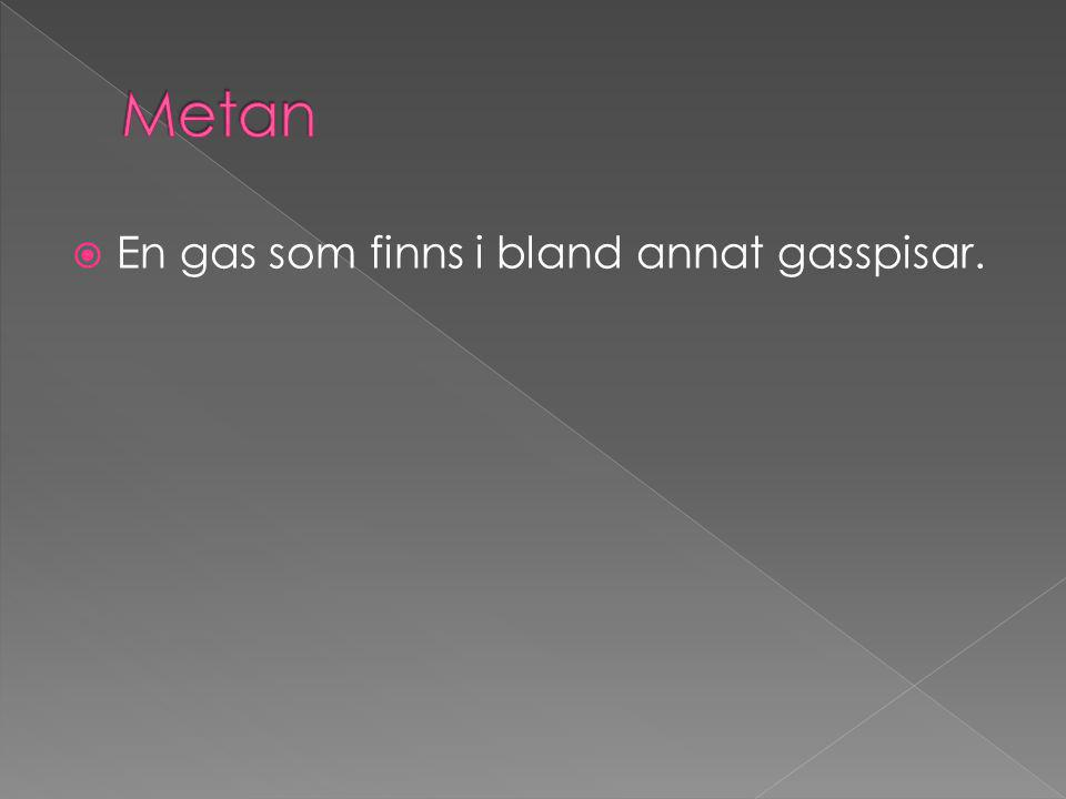 Metan En gas som finns i bland annat gasspisar.
