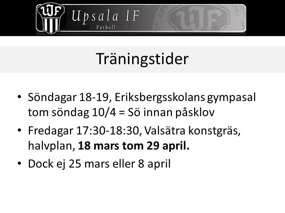 Träningstider Söndagar 18-19, Eriksbergsskolans gympasal tom söndag 10/4 = Sö innan påsklov.