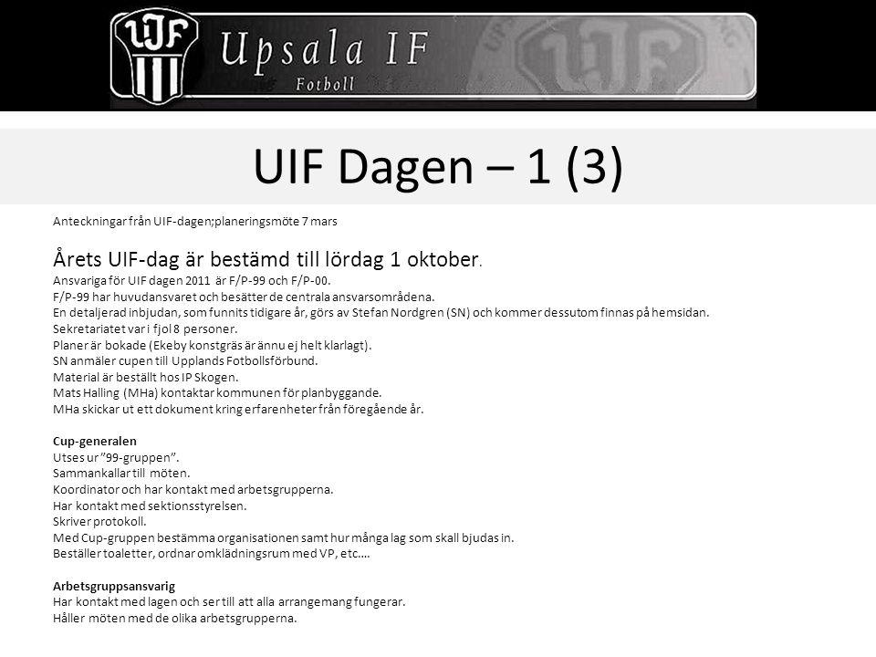 UIF Dagen – 1 (3) Årets UIF-dag är bestämd till lördag 1 oktober.